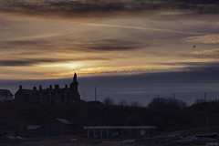 Sunset Approaches (whistlingtent) Tags: admirallordcollingwood statue silhouette flickr tynemouth haven clouds skyline spanishbattery yachts boats sailingboats sky sunset chimneys trees monument