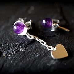a gift from Clare (quietpurplehaze07) Tags: macro purple amethyst earrings silver