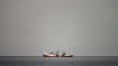 'The Standoff' (Canadapt) Tags: fishing boats sea moray firth duo sterntostern horizon cullen scotland canadapt