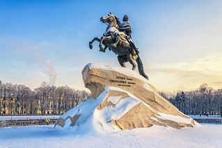 Saint Petersburg, Russia. The Bronze horseman monument on The Senate square on the background of clear blue sky.