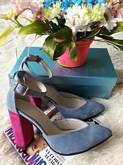 Замшевые женские туфл ибосоножки с закрытой пяткой на толстом устойчивом каблуке с ремешком серые (azzafazzara) Tags: туфли обувь