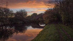Daybreak (Brian Negus) Tags: daybreak autumn canal morning loughborough bridge powerlines riversoar dawn reflections sky steeltower towpath pylon sunrise charnwood england unitedkingdom gb