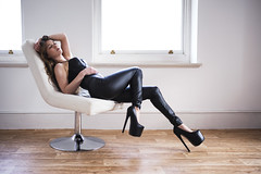(agruszka212) Tags: beautiful woman model ambient light black leather high heels sexy chair