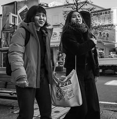 Pizza (Bill Morgan) Tags: fujifilm fuji xe3 18mm f2 bw jpeg acros lightroomclassic kichijoji tokyo girls
