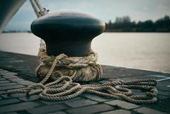 Bolder (grepe) Tags: port antwerp schelde river boat bolder rope dusk