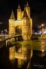 Amsterdamse Poort (Haarlem) (PaulHoo) Tags: haarlem city urban architecture building amsterdamse poort 2017 nikon d750 longexposure reflection night evening light wideangle water cityscape