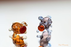 Pretty piglets... (Maria Godfrida) Tags: smileonsatuday madeofglass glass piglets pigs tiny little colours cute mirror reflections tamron nikon couple two pair duo colors colourful fragile small