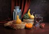 Time for Gratitude (Esther Spektor - Thanks for 12+millions views..) Tags: stilllife naturemorte naturezamorta stilleben composition creativephotography artisticphoto arrangement art autumn thanksgiving tabletop pumpkin gourd squash berry canister mug box curtain lid drape juice yellow green orange red silver brown metal glass bodegon estherspektor canon