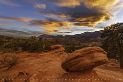 Red Rock Respite (Matt Thalman - Valley Man Photography) Tags: colorado coloradosprings gardenofthegods manitousprings clouds color colorful dramatic landscape mountains red rock sandstone shrubs sky sunset trees