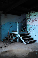 Let's Meet Halfway (Wєirdlig) Tags: abandoned urbex stairs staircase blue teal trespass creepy architecture abstract photography exploring