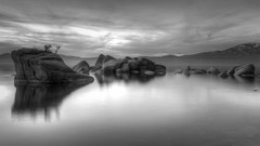 Bonsai Rock (Roving Vagabond aka Bryan Hill) Tags: bw blackandwhite laketahoe lake tahoe sunset cloulds cloud landscape california ca nv nevada granite mountain reflection explore sky water longexposure blackwhite