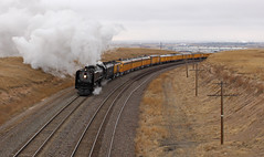 Archer Hill (GLC 392) Tags: 50th anniversary wy wyoming northern steam engine steve lee union pacific up 844 upp railroad railway train man his machine locomotive people cheyenne archer hill clouds shop emd e9a e9b stream line liner x949 x951 949 951 963 963b business