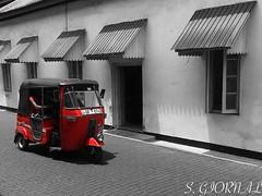 Red Tuk Tuk (Stéphane Giornal) Tags: galle srilanka street taxi tuktuk redtuktuk blackandwhite redcolour typical