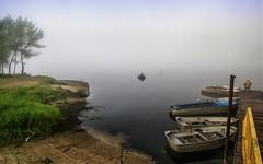 Homecoming (kud4ipad) Tags: 2016 prokhorovka morning dnieper river fog tree water ukraine pier boat fishrod fishing fishman grass mist