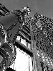 High in the sky (ulidolz) Tags: night nacht laterne lantern reflection spiegelungen architektur architecture iphone schwarzweis blackwhite berlin