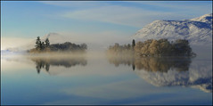 Loch Tarff (McRusty) Tags: loch tarff fort augustus water supply great glen albyn snow mist low sun winter reflection panorama islands beautiful natural outdoor highland scotland