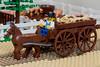 Old West Farm - detail 05 (cyndi.bourne) Tags: lego farm calgarystampede oldwest landscaping trees flowers livestock horses pigs cart wagon farmer