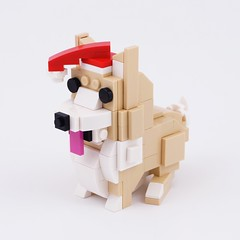 Santa Corgi (BrickinNick) Tags: lego corgi santa dog puppy outfit twitch creative brickbuilding