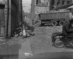 Negative No: 1967-1420 - Negatives Book Entry: 08-05-1967_Highways_Sharston Street Harpurhey_Views of Rubbish on Footpath (archivesplus) Tags: manchester england 1960s townhallphotographerscollection albion reiver tipper lorry