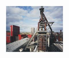blast furnace (ha*voc) Tags: mamiya7ii 43mm rangefinder film 120 mediumformat 6x7 kodakportra400 urban urbanstructures eschsuralzette luxemburg development industrialfragments industrial industrialstructures industrialmorphology belval
