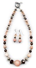 Sorbet series: peach_mocha426w (elizabatz.jensen) Tags: quartz stone semiprecious necklace earrings jewelry smokyquartz peachaventurine peachfeldspar peachmoonstone silver picassojasper
