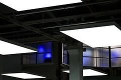 Catastrophe ultraviolette (Gerard Hermand) Tags: 1711080726 gerardhermand france paris canon eos5dmarkii palaisdetokyo musée museum éclairage lighting lumière light bleu blue vitre pane verre glass plafond ceiling