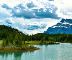 Lake (Jane Olsen) Tags: trees water lake mountain sky clouds leaves outdoor landscape alberta