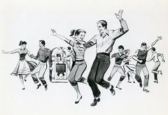 Illustration, Dancing Teenagers (jericl cat) Tags: unknown film production dancing teenager sockhop hop jukebox art
