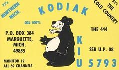 Kodiak - Marquette, Michigan (73sand88s by Cardboard America) Tags: qsl cb cbradio qslcard vintage michigan bear