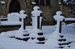 Three cold crosses (Sundornvic) Tags: snow church battlefield white black architecture stone masonry