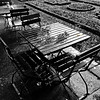 a rainy autumn day (j.p.yef) Tags: peterfey jpyef yef park germany berlin rainy tables chairs wet grass leaves monochrome bw sw square selectivecolor photomanipulation autumn seasons reflection water