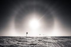 The Sun Halo (redfurwolf) Tags: southpole antarctica antarctic sun halo sunhalo snow ice outdoor landscape nature ngc flag sky horizon redfurwolf sony rx100m4 road bw blackandwhite monochrome