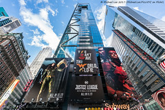 Justice League at Times Square (20171119-DSC03334) (Michael.Lee.Pics.NYC) Tags: newyork timessquare 7timessquare timessquaretower justiceleague movie billboard advertisement dccomics superheroes architecture cityscape reflection sky clouds glass symmetry sony a7rm2 fe1635mmf4g