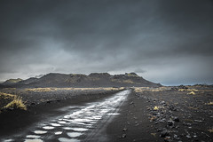 Rain on the trail (Sizun Eye) Tags: landmannalaugar valley track trail mountains volcanic blacksand iceland desert austere rain moss grasses nature landscape paysage clouds sizuneye nikond750 tamron2470mmf28