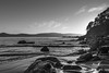 Early Morning Rocky Seascape in Black and White (Merrillie) Tags: daybreak uminabeach landscape nature australia mountains nswcentralcoast newsouthwales clouds nsw uminapoint beach scenery centralcoastnsw monochrome blackandwhite coastal waterscape centralcoast seascape sunrise coast water sea