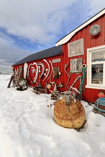 Eccentric ornate on rorbu-traditional fishing hut exterior. Straumnes-Vagan-Austvagoya-Lofoten-Norway. 0616