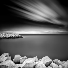 Cadzand Abstraction V (Alec Lux) Tags: bw beach blackandwhite blackandwhitephotography blocks breakwater cadzand coast coastline entrance groyne harbour landscape landscapephotography longexposure longexposurephotography marine nature naturephotography netherlands ocean port rocks sand scenic sea seascape seascapephotography sky smooth stones water waves zeeland nl