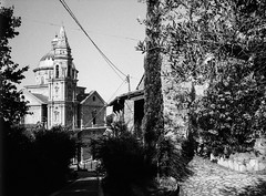 San Biagio and tree. Leica M6, 35mm Summciron ASPH, Fomopan 100 (nickdemarco) Tags: rangefinderchronicles blackwhite film leicam6classic 35mmsummicronasph italy fomopan tuscany