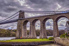 Y bont (GarethBell) Tags: wales anglesey menaibridge suspension bridge suspensionbridge coast sea clouds hdr telford thomastelford engineering gwynedd a5 grass water shore canon canon6d 35mm