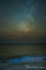 Colors of the Night - Milky Way and Biolumenescence (Marsha Kirschbaum) Tags: sanluisobispocounty glow blue sonyarii ©marshakirschbaum bioluminescentalgae glowing astrolandscape bluewaves wave coast starrynight milkyway cambria redtide phytoplankton dinoflagellate