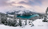 Overlook of snow covered Peyto Lake Banff National Park (Daniel Viñe fotografia) Tags: banff lake park winter canada national peyto mountain snow landscape view rocky alberta nature panorama mountains background white travel forest scenic trees turquoise beautiful blue