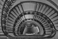 Asphyxia (Douguerreotype) Tags: england monochrome london uk blackandwhite urban british buildings mono stairs spiral city architecture britain gb bw helix steps