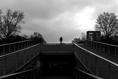 Before going down (pascalcolin1) Tags: paris13 homme man ciel sky passerelle footbridge top sommet photoderue streetview urbanarte noiretblanc blackandwhite photopascalcolin canon50mm 50mm canon