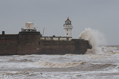 Upset River and an Angry Sea (frisiabonn) Tags: water wirral liverpool england uk britain marine river mersey merseyside sea shore maritime outdoor storm rough waves beach fort perch lighthouse newbrighton