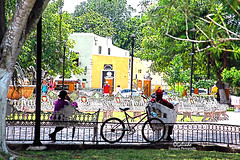 IMG_0279 On A Break (Cyberlens 40D) Tags: mexico yucatan colonial small cities towns valladolid square downtown people sitting shops trees foliage bicycles shade sunny hot humid travel sightseeing