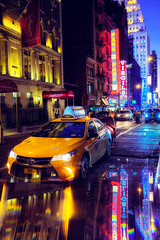 Taxi please. (Matthias Dengler || www.snapshopped.com) Tags: matthias dengler snapshopped travel explore create discover city architecture cab yellow taxi new york theater district usa united states america reflection reflections blue red car busy hours manhattan downtown uptown transport street ny urban