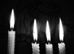 348/365 (moke076) Tags: 2017 365 project 365project project365 oneaday photoaday vsco vscocam iphone cell cellphone mobile beeswax candle hanukkah hanukah chanukah menorah holiday jewish bw flame lit candles 3rd third night