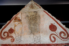"""""""Theatrical scene with a comical actor, a flute player and two pomegranates"""" - painted slab of a tomb (350-330 BC) - Archaeological Museum of Paestum (Carlo Raso) Tags: music flute theater theatre paestum actor archaeologicalmuseum"""