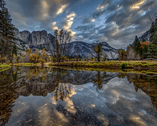 Morning Cloud Reflection in the Merced River