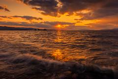 sunset 2435 (junjiaoyama) Tags: japan sunset sky light cloud weather landscape orange contrast color bright lake island water nature wave fall autumn sunburst